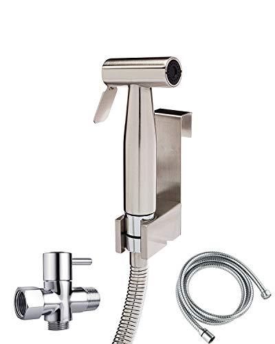 Hand Bidet for Toilet Shower Set-Hand Held Bidet Sprayer Attachment in Bathroom-Stainless Steel Handheld Muslim Shower Kit for Fresh Water