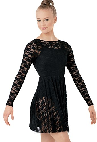 [Balera Lace Dance Overdress Long Sleeve Black Adult Medium] (Dance Costumes For Competition For Adults)