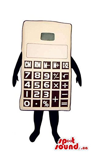 Large White Calculator Mascot SpotSound US With Black Number Keys And No (Calculator Costumes)