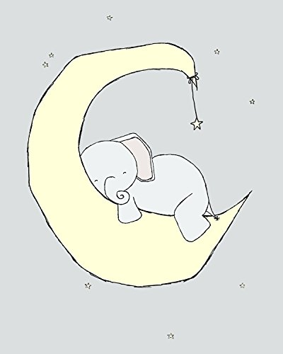 Elephant Nursery Art - Elephant Moon Dream - Nursery Art Print - Pale Yellow and Gray - 8x10 inch print