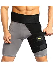 Thigh Brace Trimmers Hamstring Wrap, Compression Sleeve with Anti-Slip Strip Support Thigh Quad Sprains, Tendonitis, Strains, Pulled Muscle Injury Rehab and Recovery, Fits Men Women