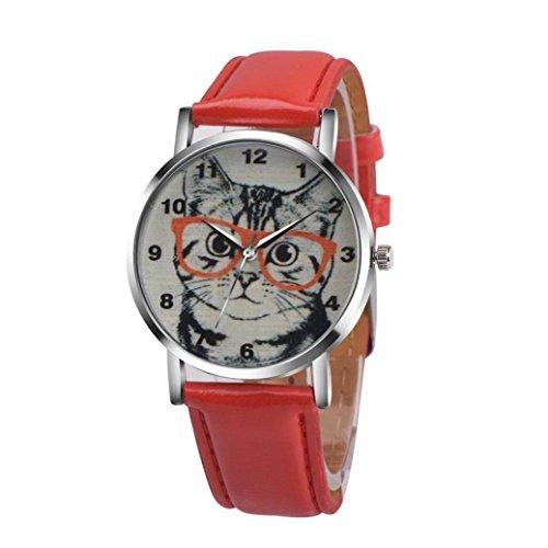 Balakie Women's Watch, Ladies Cute Cat Pattern Watch Faux Leather Band Analog Quartz Vogue Wrist Watch