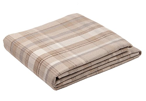 (McAlister Textiles Heritage   Decorative Bed Throw Blanket in Natural Beige   Twin Blanket (50x75)   Plush Wool-Textured Flannel Buffalo Plaid   Tartan Check Farmhouse Cabin Accent Décor)