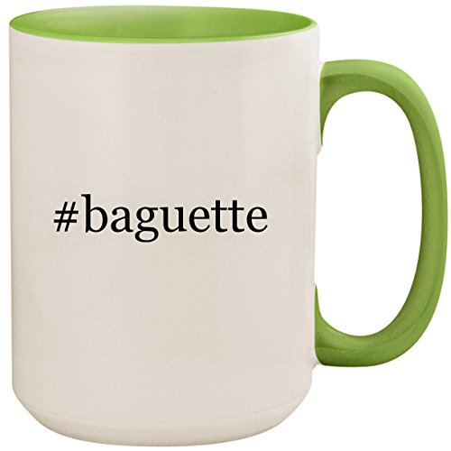 #baguette - 15oz Ceramic Colored Inside and Handle Coffee Mug Cup, Light Green