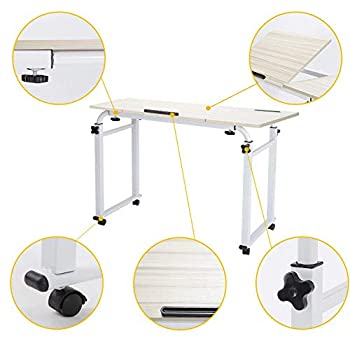 Image of CWH&WEN Table, Mobile Bedding Table, Laptop Cart, Hospitality Bed Table, Computer Desk, Eating in Bed, with Keyboard Tray and CPU Bracket, Adjustable Height Home and Kitchen