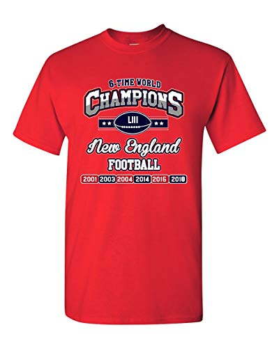 - New World Champion 6-Time New England Football DT Adult T-Shirt Tee (XX Large, Red)