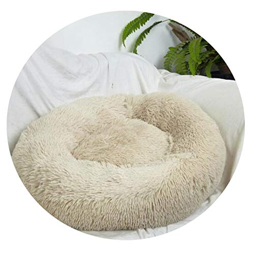 (retro store Donut Cat Bed, Faux Fur Dog Beds for Medium Small Dogs Self Warming Indoor Round Pillow Cuddler Pet Mat,Khaki,OD 40cm)