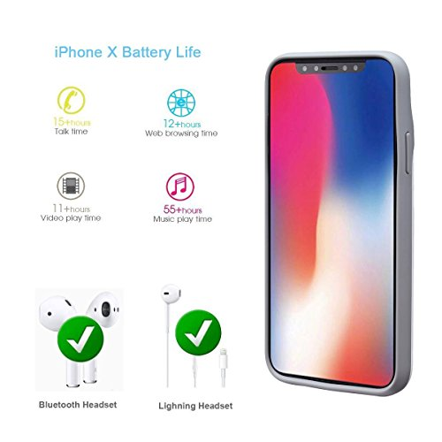 iPhone X Battery instance 3200mAh trim transportable Charger Rechargeable Extended Backup Battery Protective Charging Pack ability Bank instance for iPhone X iPhone 10 2017 help support Lightning Headphones White Battery Charger Cases