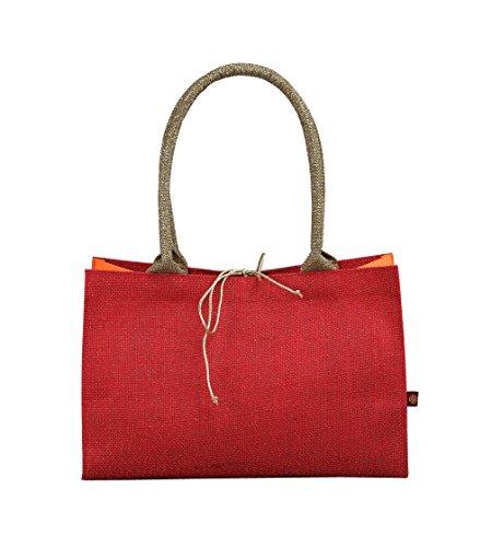 Mirabella Health and Beauty Clothing Women's Suhana Jute Canvas Handbag 20 Cm X 30 Cm Wine Red