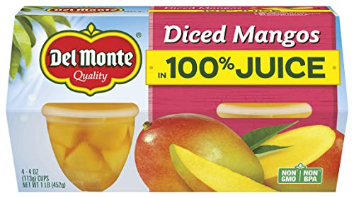 Del Monte Diced Mangos Fruit Snack Cups in 100% Juice, 4.4-Ounce (Pack of 24)