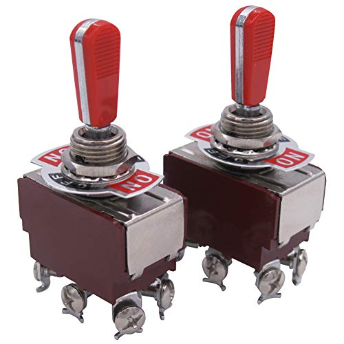 Twidec/2 Pcs Heavy Duty Rocker Toggle Switch 20A 125V DPDT 3 Position 6 Pin ON/OFF/ON Switch with Red PC Wear-resistant Handle, 2 Years Warranty TEN-A-6310RR