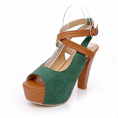 Carolbar Chic Womens Buckle Assorted Colors Sexy Fashion Summer Platform High Chunky Heel Sandals Deep green UdF0Y