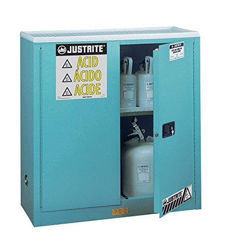 - Justrite 893002 18 Gauge Steel Corrosive Storage Cabinet with Sure-Grip Door Handle, Steel, Standard Floor Model, 2 Doors, Manual Door, 30 gal Capacity, 43