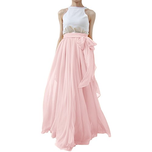 Lanierwedding Summer Beach Chiffon Long High Waist Maxi Skirt With Belt For Wedding 2017 Pink Size XS by Lanierwedding
