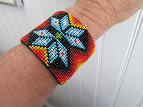 star starburst flower red yellow turquoise black Mayan aztec tribal geometric beaded bead work native american Indian style cuff bracelet Fair Trade Guatemala Southwest design hand made Ethnic