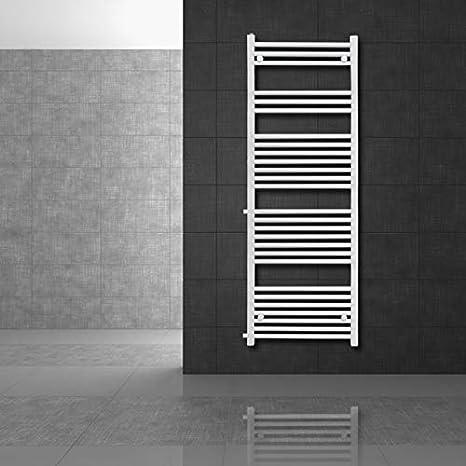 Radiador de calefacci/ón ECD Germany Radiador Sahara 500 x 1600 mm recto con conexi/ón lateral Radiador toallero No electrico blanco