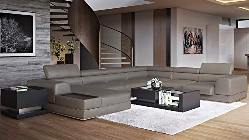 Zuri Furniture Modern Wynn Slate Leather Sectional Sofa with Adjustable Headrests - Left Chaise