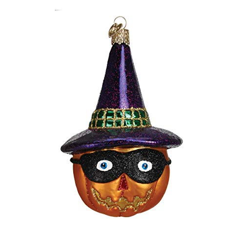 Old World Christmas Ornaments: Masked Jack O'Lantern with Hat Glass Blown Ornaments for Christmas Tree -