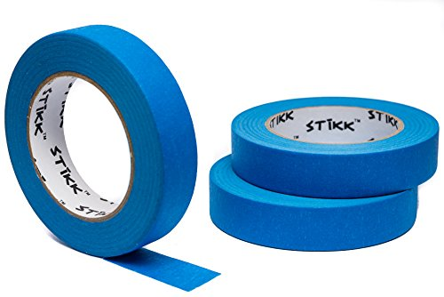 3pk 1' x 60yd STIKK Blue Painters Tape 14 Day Clean Release Trim Edge Finishing Masking Tape (.94 IN 24MM) (3 Pack)