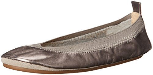 Image of Yosi Samra Girls' Sammie Metallic Ballet Flat, Pewter, 6 M US Toddler