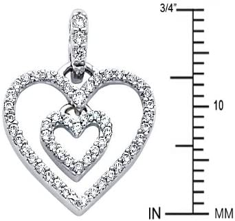14k White Gold Love Heart CZ Pendant with 0.9mm Snail Link Chain Necklace