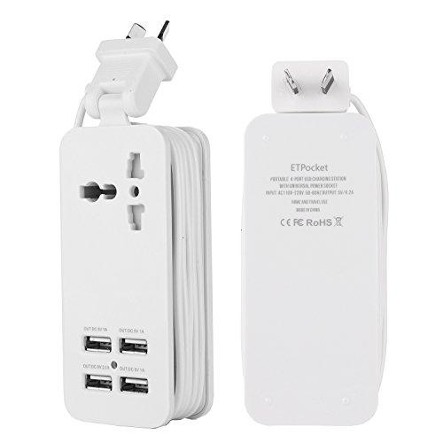 Australia USB Power Strip with 4 USB 5V 2.1A-1A 21W Universal Socket CN AU Plug 100V-240V Compact 5ft Extension Cord Portable Electric Power Strip for Australia China Traveling (White)