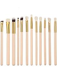 Kasla 12 Pieces Eye Shadow Foundation Makeup Brush Set (Skin Color )