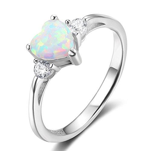 PHOCKSIN Heart White Opal 925 Sterling Silver Rings for Women Girl...