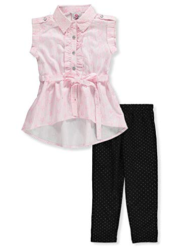 Real Love Toddler 2-Piece Leggings Set Outfit - Pink/Black, 4t (Bejeweled Cotton Jersey)