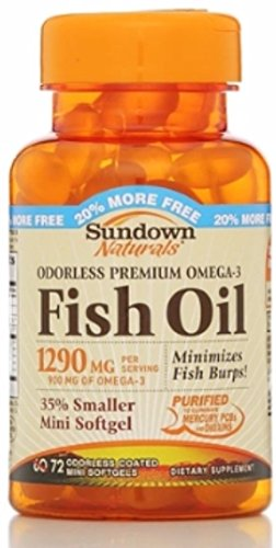 Sundown Naturals Odorless Premium Omega-3 Fish Oil 1290 mg Softgels, 60 ea (Pack of 11) by Sundown Naturals