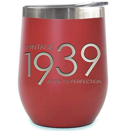 1939 80th Birthday Gifts for Women and Men Red 12 oz Insulated Stainless Steel Tumbler | 80 Year Old Presents | Mom Dad Wife Husband Present | Party Decorations Supplies Anniversary Tumblers Gift th