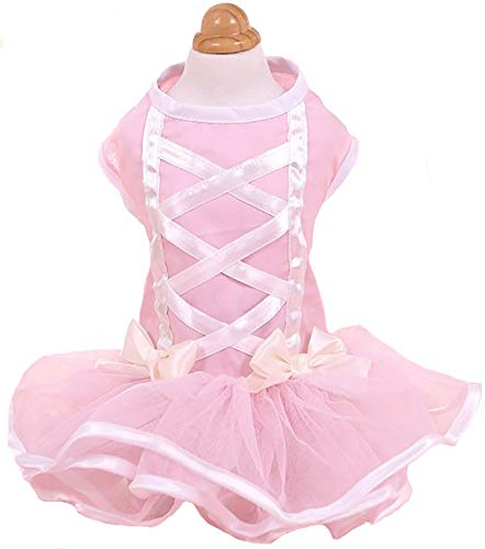 MaruPet Adorable Lace Puppy Princess Skirt Pet Cake Camisole Tutu Dress with Bowknot for Small Extral Small Teddy, Pug, Chihuahua, Shih Tzu, Yorkshire Terriers Pink XS