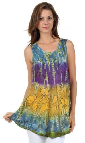 Sakkas 40831 Ombre Floral Tie Dye Flared Hem Sleeveless Tunic Blouse - Blue/One Size Plus