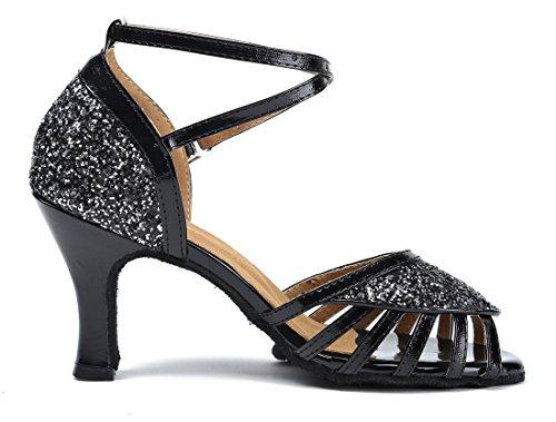 Tda Mujer's Peep Toe Cut-out Lentejuelas Rumba Sintética Samba Tango Ballroom Latin Dance Zapatos De Boda 7.5cm Negro
