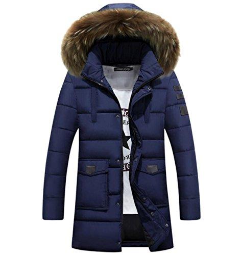 CHENSH Men Down Cotton Padded Long Section Slim Cotton Suit Fur Collar Winter Blue