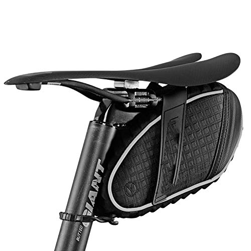 Bicycle Saddle Bag 3D Shell Rainproof Reflective Shockproof Cycling Bike Tube Rear Tail Seatpost Bag Bike Accessories,Black