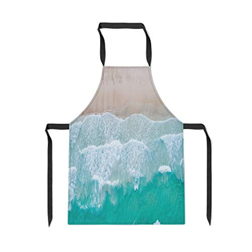 Pinbeam Apron Sea Aerial View Top Amazing Nature The Color with Adjustable Neck for Cooking Baking ()