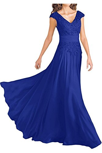 Ever Girl Women's Deep V-Neck Cap Sleeves Long Chiffon Mother of Bride Dresses Royal Blue US16