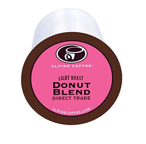 Alpine Coffee Donut Blend Coffee, 40 Count - Light Roast Coffee K Cups - 33% MORE COFFEE - Compatible with Keurig K-cup - Roast Medium Coffee Sweet