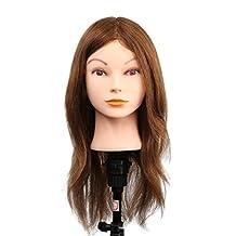 Female Mannequin Head Cosmetology Doll Head Training Head 100% Human Hair Hairdresser Manikin 20 Inch Long Hair with Table Clamp