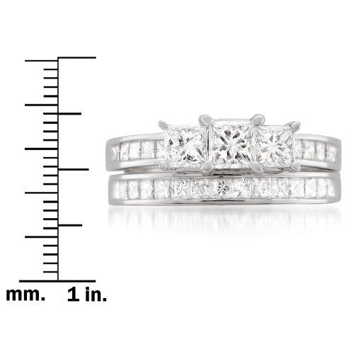 14k White Gold Princess-cut 3 Three-Stone Diamond Bridal Set Ring (2 cttw, H-I, I1-I2) by La4ve Diamonds (Image #3)