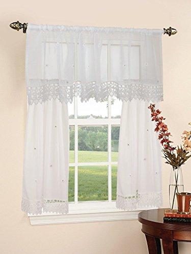 Violet Linen Daisy Design Sheer 3 Piece Kitchen Curtain Set, 18