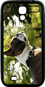 Boston Terrier Dog Design Hard Rubber TPU Case with Bumper Protection for Samsung Galaxy S4Black