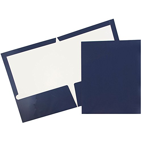 JAM PAPER Laminated Two Pocket Glossy Folders - Navy Blue - Bulk 50/Box ()