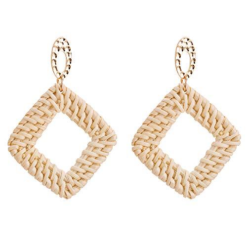 Rattan Earrings, Earrings for women fashion Handmade Drop Dangle Earrings Lightweight Geometric Statement Earrings (B ()