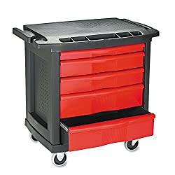 "Rubbermaid Commercial Trademaster 5 Drawer Mobile Work Center, 33"" L x 20"" W x 34"" H, Black/Red (FG773488BLA)"