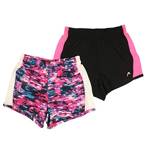 (HEAD Girls' Athletic Track Shorts (Pack of 2) (Black/Wild Pink, Large (14/16)))