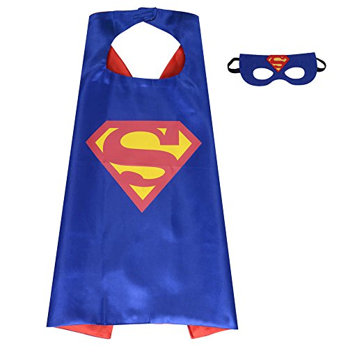 Pawbonds Halloween Costume Superhero Dress Up for Kids - Best Christmas, Birthday Gift, Cosplay Party. Satin Cape and Felt Mask Role Play Set. Cartoon Outfit for Boys and Girls (Superman)