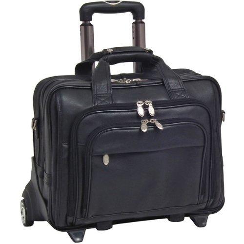 McKlein Genuine 17'' Gold Coast Black Leather Detachable-Wheeled Notebook Case by McKleinUSA