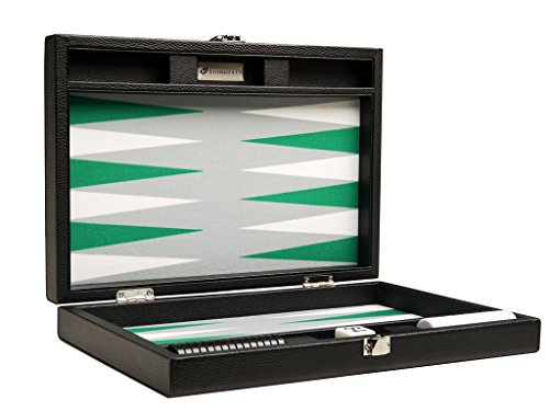 Silverman & Co. 13-inch Premium Backgammon Set - Travel Size - Black Board, White and Green Points